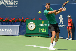 August 9, 2018 - Toronto, Ontario, Canada - GRIGOR DIMITROV of Bulgaria n action in his third round match vs. F. Tiafoe in the Rogers Cup tennis tournament in Toronto Canada. (Credit Image: © Christopher Levy via ZUMA Wire)