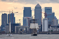 © Licensed to London News Pictures. 16/04/2017. London, UK. (L to R) TS Blue Clipper and TS Morgenster pass by.  More than 30 ships from around the world take part in the Parade of Sail, the culmination of the Royal Greenwich Tall Ships Festival 2017.  Greenwich also marks the start of the Rendez-Vous 2017 Tall Ships Regatta, where these ships will journey to Quebec to mark the 150th anniversary of the Canadian Confederation. Photo credit : Stephen Chung/LNP