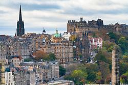 Skyline view of Edinburgh towards the Old Town, The Mound and Edinburgh Castle, Scotland UK.