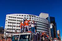 Denver Broncos receivers Emmanuel Sanders (l) and Demaryius Thomas (88) at the Super Bowl 50 victory parade in Downtown Denver, Colorado USA.