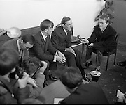 Dr Christian Barnard speaks at an impromptu press conference on his arrival at Dublin Airport as a guest of Dr. John F. O'Connell TD, who  as editor of the Irish Medical Times, has arranged a special lecture to be given by the Professor on Cardiac Transplants to be given at the Royal College of Surgeons..11.11.1968