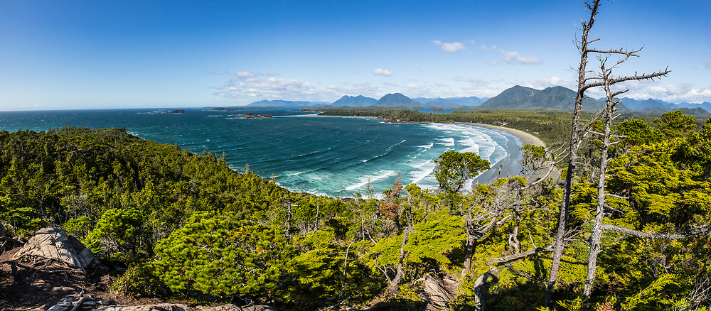 Looking down on Cox Bay Beach from Cox bay Bluff, Tofino, BC, Canada.