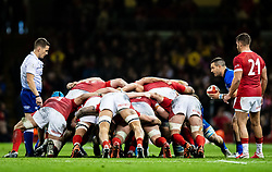 Guglielmo Palazzani of Italy puts in to the scrum<br /> <br /> Photographer Simon King/Replay Images<br /> <br /> Six Nations Round 1 - Wales v Italy - Saturday 1st February 2020 - Principality Stadium - Cardiff<br /> <br /> World Copyright © Replay Images . All rights reserved. info@replayimages.co.uk - http://replayimages.co.uk