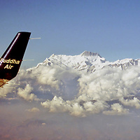 Asia, Nepal, Himalayas. Flying past Mount Everest.