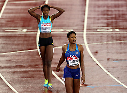 Bahamas' Shaunae Miller-Uibo reacts after pulling up whilst leading before USA's Phyllis Francis wins the Women's 400m Final during day six of the 2017 IAAF World Championships at the London Stadium.