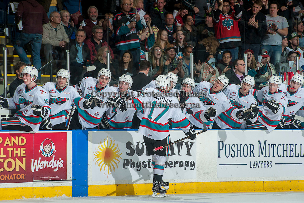 KELOWNA, CANADA - MARCH 26: Rodney Southam #17 of Kelowna Rockets celebrates a goal against the Kamloops Blazers on March 26, 2016 at Prospera Place in Kelowna, British Columbia, Canada.  (Photo by Marissa Baecker/Shoot the Breeze)  *** Local Caption *** Rodney Southam;