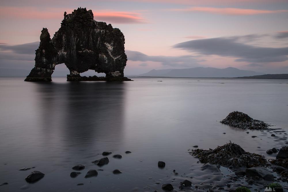 Dusk at Hvitserkur, Vatnsnes Peninsular, northern Iceland