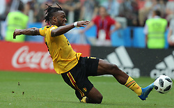 MOSCOW, June 23, 2018  Michy Batshuayi of Belgium scores a goal during the 2018 FIFA World Cup Group G match between Belgium and Tunisia in Moscow, Russia, June 23, 2018. Belgium won 5-2. (Credit Image: © Yang Lei/Xinhua via ZUMA Wire)