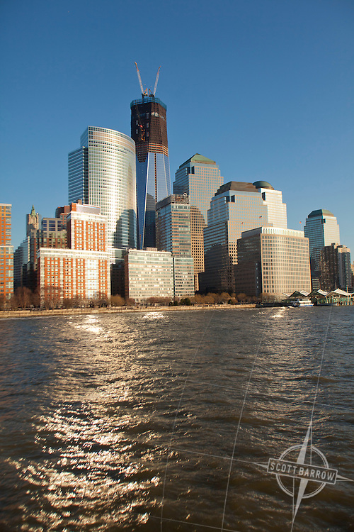 The World Financial Center and new Freedom Tower from the Hudson River.