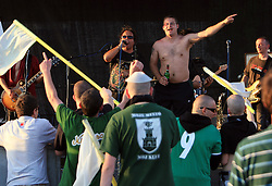 Green Dragons, fans of Olimpija (leader Daniel Komic) celebrate with Pero Lovsin at party after the final match of 2nd SNL league between NK Olimpija in NK Aluminij, on May 23, 2009, ZAK, Ljubljana, Slovenia. Aluminij won 2:1. NK Olimpija is a Champion of 2nd SNL and thus qualified to 1st Slovenian football league for season 2009/2010. (Photo by Vid Ponikvar / Sportida)