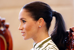 The Duchess of Sussex attends a meeting with Tongan prime minister Akilisi Pohiva and his cabinet on the second day of the royal couple's visit to Tonga.