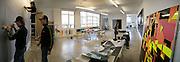 Ian Monroe working in his studio near Tower Bridge.  Assistants Rose Eken and Lizzie Heyes helping.  -DO NOT ARCHIVE-© Copyright Photograph by Dafydd Jones. 248 Clapham Rd. London SW9 0PZ. Tel 0207 820 0771. www.dafjones.com.