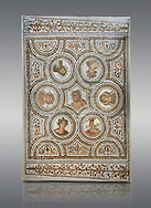 Picture of a Roman mosaics design depicting the Four Seasons; from the ancient Roman city of Thysdrus. 3rd century AD. El Djem Archaeological Museum; El Djem; Tunisia. .<br /> <br /> If you prefer to buy from our ALAMY PHOTO LIBRARY Collection visit : https://www.alamy.com/portfolio/paul-williams-funkystock/roman-mosaic.html . Type - El Djem - into the LOWER SEARCH WITHIN GALLERY box. Refine search by adding background colour, place, museum etc<br /> <br /> Visit our ROMAN MOSAIC PHOTO COLLECTIONS for more photos to download as wall art prints https://funkystock.photoshelter.com/gallery-collection/Roman-Mosaics-Art-Pictures-Images/C0000LcfNel7FpLI