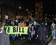 Protestors march to Trafalgar square to oppose the new restrictions on the right to protest. London. March 15th 2021.