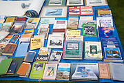 Books on display at a car boot sale, UK
