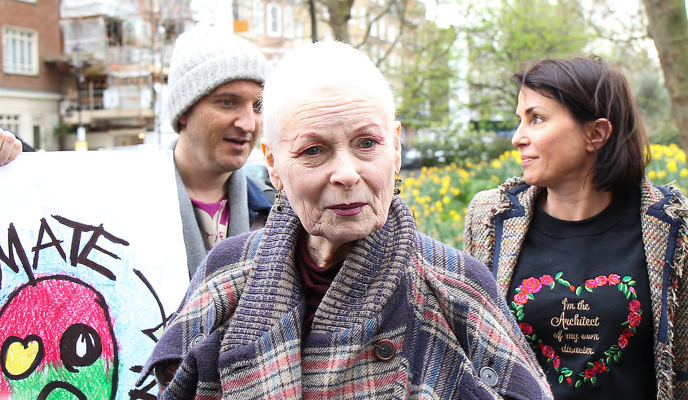 Dame Vivienne Westwood & Sadie Frost join attend an anti tracking demonstration in London on March 18, 2014.