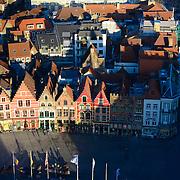 Brugge Market Square Guild Houses From Belfort Tower, Belgium