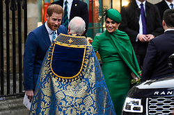 © Licensed to London News Pictures. 09/03/2020. LONDON, UK. The Duke and Duchess of Sussex leave Westminster Abbey after attending the annual church service on Commonwealth Day.  Photo credit: Stephen Chung/LNP