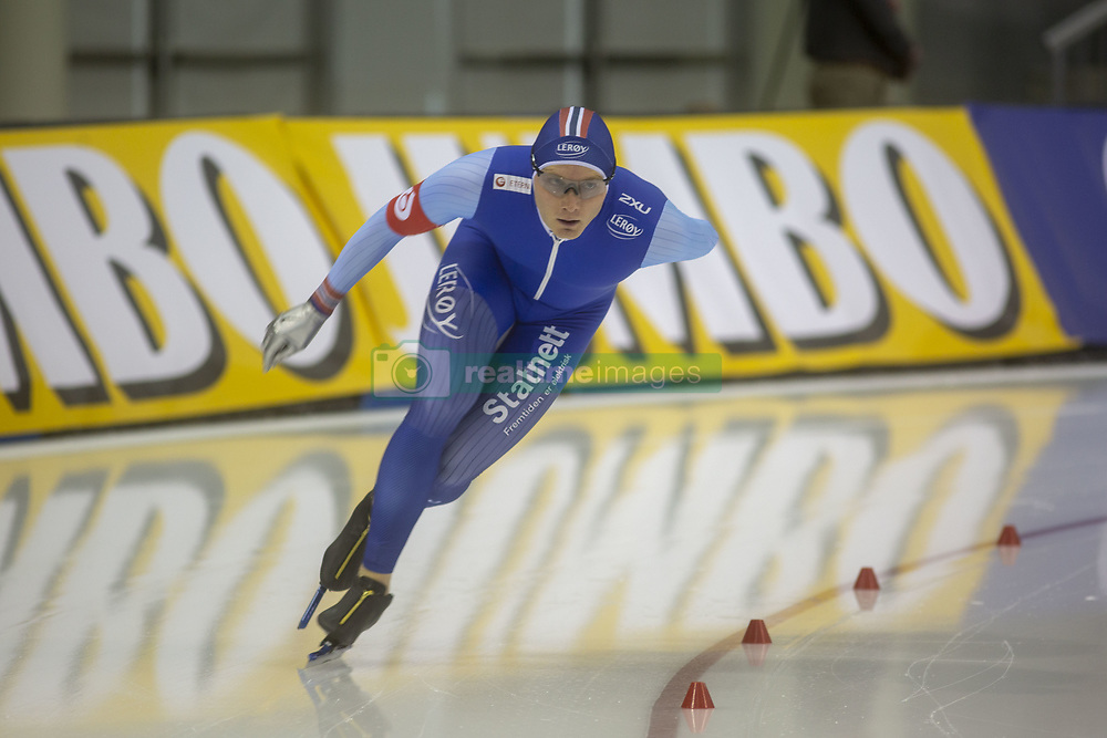 March 9, 2019 - Salt Lake City, Utah, USA - Havard Bokko of Norway competes in the 5000m speed skating finals at the ISU World Cup at the Olympic Oval in Salt Lake City, Utah. Bokko finished with a time of 6:21.70. (Credit Image: © Natalie Behring/ZUMA Wire)