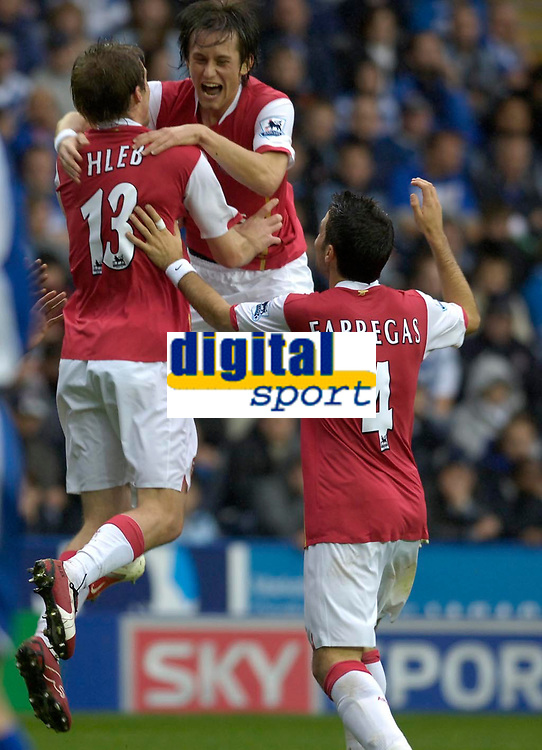 Photo: Daniel Hambury.<br />Reading v Arsenal. The Barclays Premiership. 22/10/2006.<br />Arsenal's Alex Hlebcelebrates his goal with team mate Tomas Rosicky.