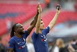 Chelsea's Victor Moses (left) and Alvaro Morata celebrate after the game