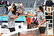 Fernando Verdasco of Spain and Cristian Garin of Chile during the Mutua Madrid Open 2021, Masters 1000 tennis tournament on May 3, 2021 at La Caja Magica in Madrid, Spain - Photo Laurent Lairys / ProSportsImages / DPPI