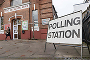 Outside the Salvation Army church hall polling station on the 12th December 2019 in London in the United Kingdom. Polling stations have opened as the nation votes to decide the next UK government in a general election. Its the 3rd election in under 5 years.