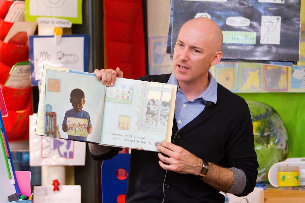 Award winning teacher Robert Sautter teaches kindergarten at Cesar Chavez Elementary in San Francisco, CA.