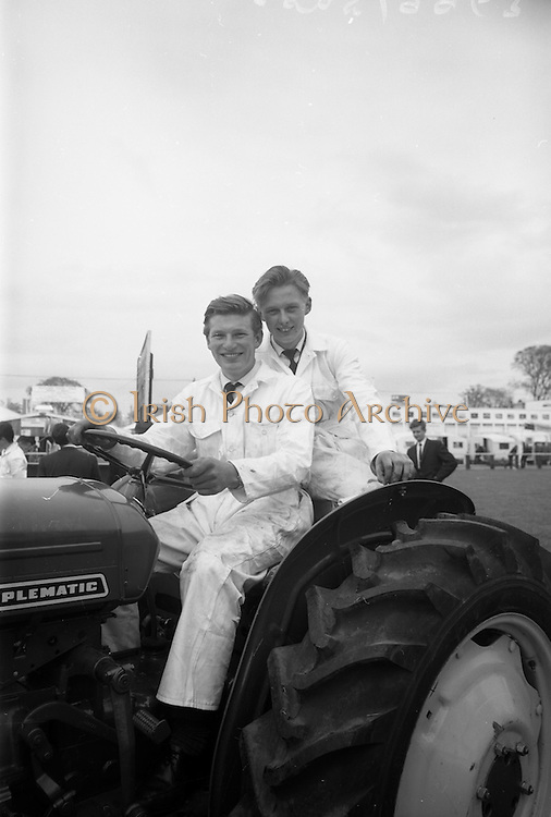 06/05/1965<br /> 05/06/1965<br /> 06 May 1965<br /> Final of the 4th Annual David Brown Tractor and Implement Maintenance Competition held at the RDS Spring Show, Ballsbridge, Dublin. John Kehoe (left), of Tincurry, Ferns, Co. Wexford and his helper, John Denby of Castlelands, Ferns, the winners of the competition. The winner and his helper would receive special educational scholarships to the David Brown Farm Machinery Service School in  Meltham, Yorkshire, England.
