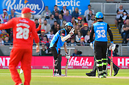 Moeen Ali of Worcestershire indicating during the Vitality T20 Finals Day Semi Final 2018 match between Worcestershire Rapids and Lancashire Lightning at Edgbaston, Birmingham, United Kingdom on 15 September 2018.