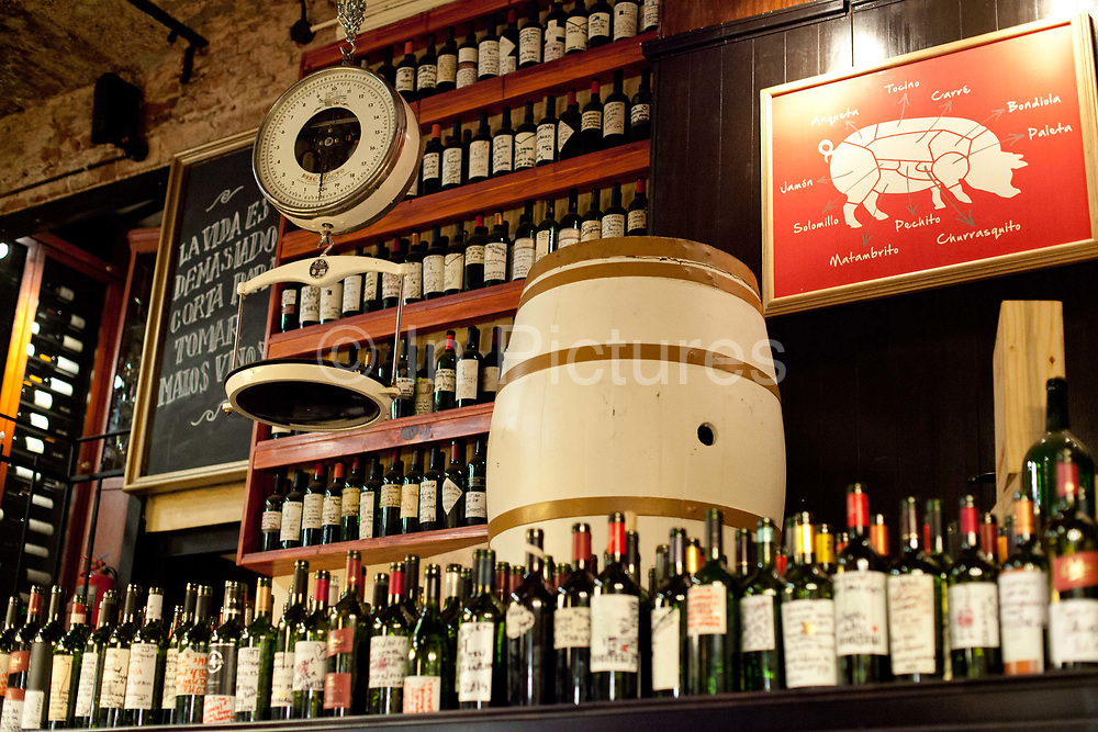 Wine bottles in Don Julio Parilla, a famous steak house in Palermo, Buenos Aires, Federal District, Argentina.