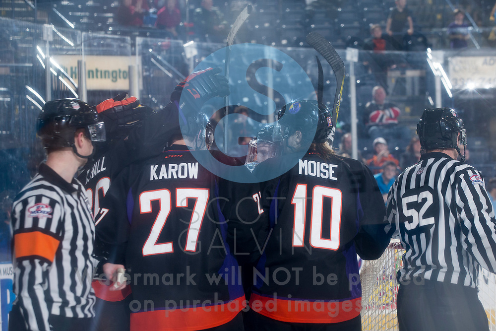 The Youngstown Phantoms lose 5-1 to the Muskegon Lumberjacks at the Covelli Centre on March 4, 2017.<br /> <br /> Michael Karow, defenseman, 27; Marshall Moise, right winger, 10