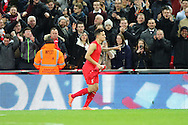 Philippe Coutinho of Liverpool celebrates after scoring his teams 1st goal. Capital One Cup Final, Liverpool v Manchester City at Wembley stadium in London, England on Sunday 28th Feb 2016. pic by Chris Stading, Andrew Orchard sports photography.