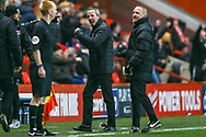 Charlton Athletic Manager Lee Bowyer responds to the award of a penalty during the EFL Sky Bet League 1 match between Charlton Athletic and Accrington Stanley at The Valley, London, England on 19 January 2019.