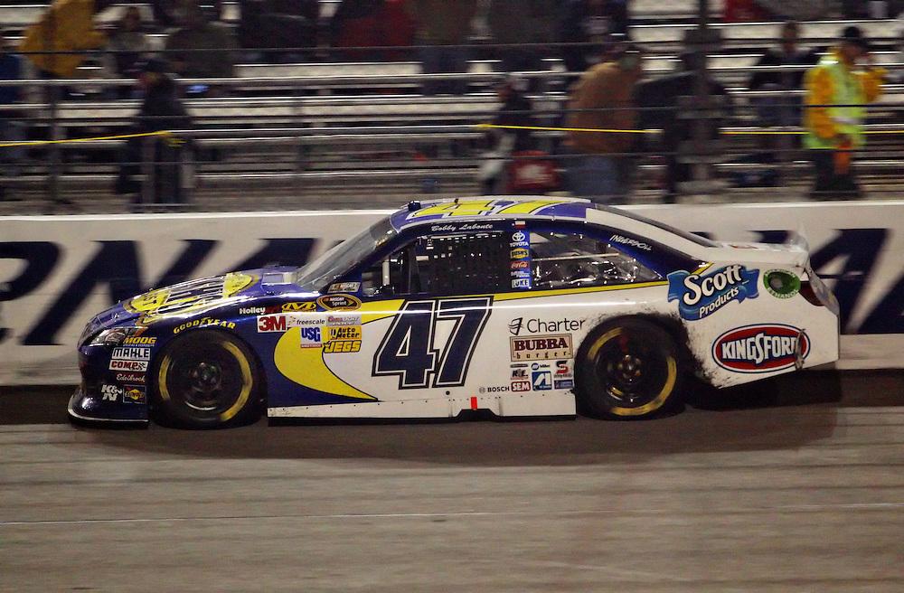 Apr 28, 2012; Richmond, VA, USA; NASCAR Sprint Cup driver Bobby Labonte (47) during the Capital City 400 at Richmond International Raceway. Mandatory Credit: Peter Casey-US PRESSWIRE.