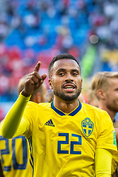 July 3, 2018 - St Petersburg, Russia - 180703 Isaac Kiese Thelin of Sweden celebrate after winning the FIFA World Cup round of 16 match between Sweden and Switzerland on July 3, 2018 in ST Petersburg..Photo: Petter Arvidson / BILDBYRÃ…N / kod PA / 87748 (Credit Image: © Petter Arvidson/Bildbyran via ZUMA Press)