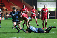Steff Evans of the Scarlets ©  scores a try in the 2nd half. Guinness Pro14 rugby match, Scarlets v Cardiff Blues  at the Parc y Scarlets in Llanelli, West Wales on Saturday 28th October 2017.<br /> pic by  Andrew Orchard, Andrew Orchard sports photography.