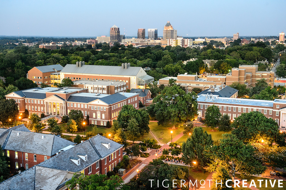 The UNCG campus and downtown Greensboro from the top of the library tower.