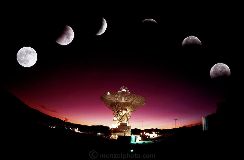 USA_SCI_RT_03_xs .Photo illustration:.Radio Telescope: The Mars Antenna in the Mojave Desert, California the Goldstone Deep Space Communications Complex with 6 exposures of the eclipse of the moon. Standing 24 stories tall, the Mars antenna is the largest dish at Goldstone. It was originally built as a 64-meter-diameter (210-foot) antenna and received its first signal from the Mariner 4 mission to Mars. By 1988, the Mars dish, along with the 64-meter antennas in Spain and Australia, was upgraded to 70 meters (230 feet). These 70-meter antennas increase the receiving power of the Deep Space Network. (1983)
