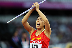 London, August 08 2017 . Huihui Lyu, China, in the women's javelin final on day five of the IAAF London 2017 world Championships at the London Stadium. © Paul Davey.