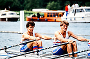 Henley. England, 1989 Henley Royal Regatta, River Thames, Henley Reach,  [© Peter Spurrier/Intersport Images],  The Queen Mother  Challenge Cup, Bow Richard STANHOPE, Rory HENDERSON,