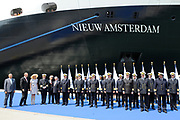 ms Nieuw Amsterdam Inaugural in Venice.<br /> <br /> Her Royal Highness Princess Máxima inaugurated on Sunday, July 4, 2010 in Venice, The cruise ship ms Nieuw Amsterdam of Holland America Line. The ship is the second in the Signature Class. The New Amsterdam, which can accommodate 2106 passengers, is built by Italiani shipbuilder Fincantieri Cantieri Navali , SpA in Marghera, Italy.<br /> <br /> On the photo:<br /> <br />   Prices Maxima arrives in the harbour of Venice with alle the ship captens of the HAL