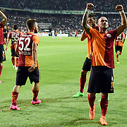 Galatasaray's Sneijder (R) and Emre Colak (C) during their Turkish Super League soccer match Torku Konyaspor between Galatasaray at the Konya Buyuksehir Belediyesi Torku Arena at Selcuklu in Konya Turkey on Saturday, 29 August 2015. Photo by TVPN/TURKPIX