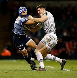 Cardiff Blues' Matthew Morgan is tackled by Ospreys' Owen Watkin<br /> <br /> Photographer Simon King/Replay Images<br /> <br /> Guinness PRO14 Round 21 - Cardiff Blues v Ospreys - Saturday 28th April 2018 - Principality Stadium - Cardiff<br /> <br /> World Copyright © Replay Images . All rights reserved. info@replayimages.co.uk - http://replayimages.co.uk
