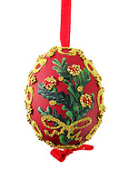 Red amd gold artisan hand made traditional Christman bauble tree decoration, cut out