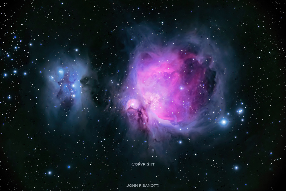 This image of the region around M 42 includes M 43 and four objects from the NGC catalogue
