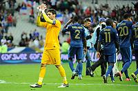 FOOTBALL - FIFA WORLD CUP 2014 - QUALIFYING - FRANCE v BIELORUSSIA - SAINT DENIS (FRANCE) - 11/09/2012 - PHOTO JEAN MARIE HERVIO / REGAMEDIA / DPPI - JOY HUGO LLORIS (FRA) AT THE END OF THE MATCH