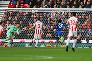 Shinji Okazaki of Leicester City (20) is unable to make contact with the ball. Premier league match, Stoke City v Leicester City at the Bet365 Stadium in Stoke on Trent, Staffs on Saturday 4th November 2017.<br /> pic by Chris Stading, Andrew Orchard sports photography.