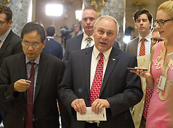 May 4, 2017 - Washington, District of Columbia, United States of America - United States House Majority Whip Steve Scalise (Republican of Louisiana) is interviewed as he walks through Statuary Hall in the US Capitol in Washington, DC following the passage of the American Health Care Act (AHCA) on May 4, 2017..Credit: Ron Sachs / CNP (Credit Image: © Ron Sachs/CNP via ZUMA Wire)