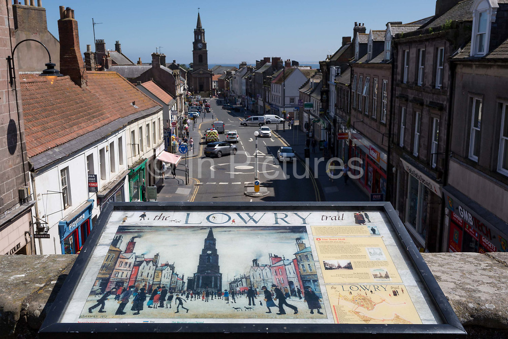 The view from the top of the Tudor fortified Scots Gate that overlooks Castlegate and the historic town of Berwick-upon-Tweed, the inspiration for one of artist LS Lowrys oil paintings entitled The Town Hall 1935. Lowry visited Berwick many times from the mid-1930s until his death.
